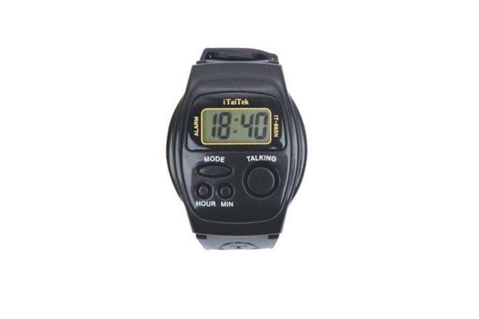 Часы-будильник настольные, говорящие vstw-5, черные с синей подсветкой.