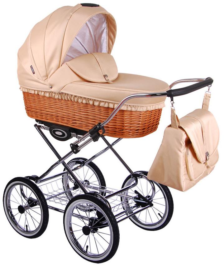 Коляска с плетеной корзиной для новорожденных
